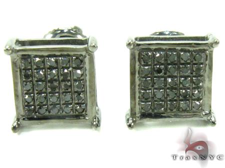 Black Diamond Square Silver Earrings 27624 シルバーイヤリング