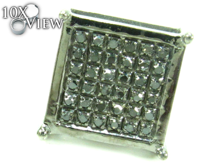 Black Diamond Square Silver Earrings 27625 Stone