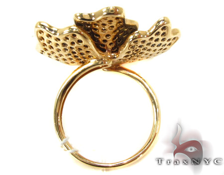 18K Rose Gold & Black Diamond Flower Ring Anniversary/Fashion