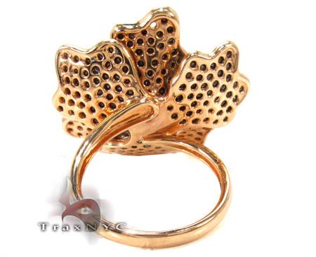 18K Rose Gold & Black Diamond Flower Ring Anniversary/Fashion