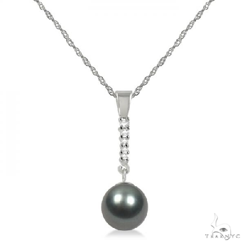 Black-Grey Tahitian Pearl and Diamond Drop Pendant Necklace 14K W. Gold 8-9mm Stone