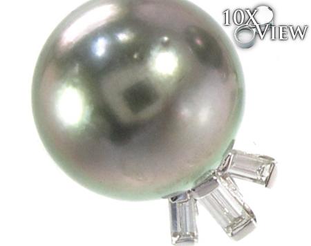 Black Pearl Diamond Earrings 27340 Stone