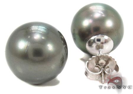 Black Pearl Earrings 31768 Stone