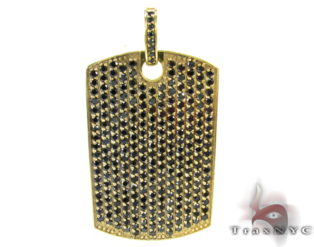 Black Prong Diamond with Yellow Gold Dog Tag Style