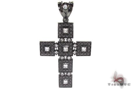 Black Rhodium Silver CZ Cross Silver