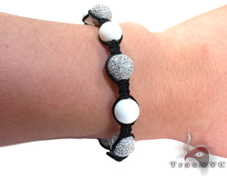 Black Rope with White Color CZ Bead Ball Bracelet Silver