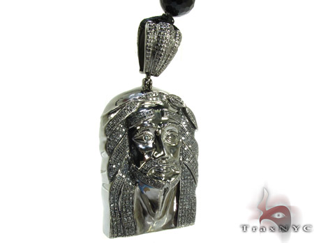 Silver Diamond Jesus Pendant Rosary Chain 34 Inches, 11mm, 208.2 Grams Rosary