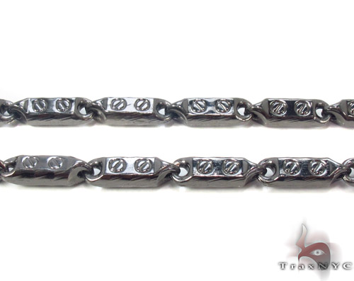 Black Silver Fancy Link n 30 Inches, 5mm, 34.9 Grams Silver