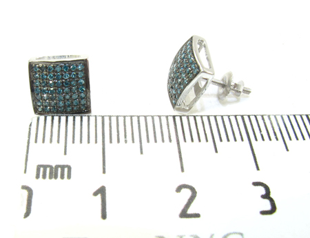 Black Silver Round Cut Prong Blue Color Diamond Earrings Metal