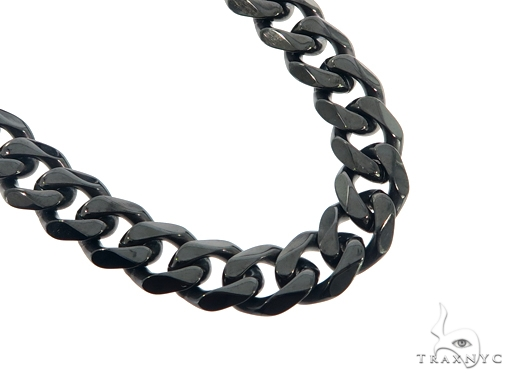 Black Stainless Steel Miami Cuban Link Chain 24 Inches 10mm 93.7 Grams 57437 Stainless Steel