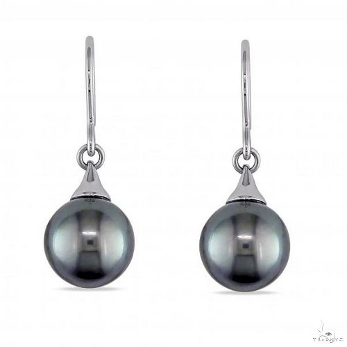 Black Tahitian Pearl Hook Earrings 14k White Gold 9-9.5mm Stone