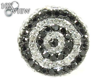 Black and White Circle Diamond Earrings Stone