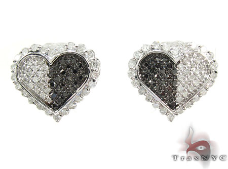 Black and White Color Diamond Heart Earrings Diamond Earrings For Women