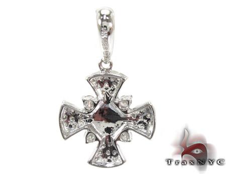 Sapphire Cabochon & Diamond Cross Pendant 2 Stone