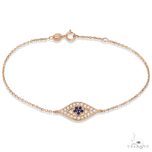 Blue Sapphire Evil Eye Diamond Bracelet in 14k Rose Gold Gemstone & Pearl