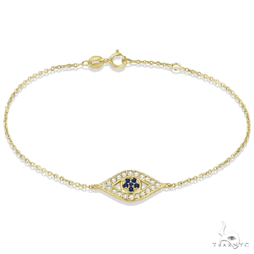 Blue Sapphire Evil Eye Diamond Bracelet in 14k Yellow Gold Gemstone & Pearl
