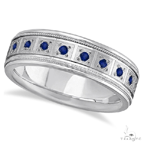 Blue Sapphire Ring for Men Wedding Band 18k White Gold Stone