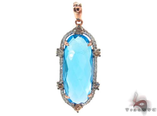 Huge Blue Topaz & Diamond Pendant 34032 Stone