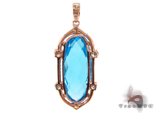 Huge Blue Topaz & Diamond Pendant 34032 Stone
