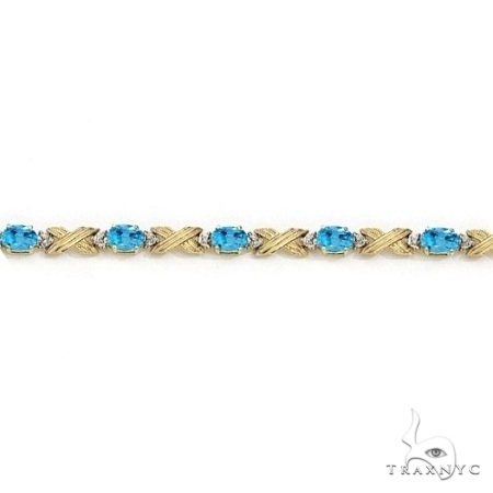 Blue Topaz and Diamond XOXO Link Bracelet 14k Yellow Gold Gemstone & Pearl
