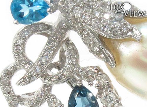 Blue Topaz and Pearl Diamond Pendant 34027 Stone