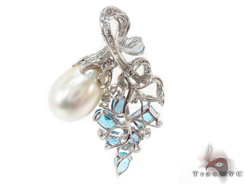 Blue Topaz and Pearl Diamond Pendant 34027 Stone