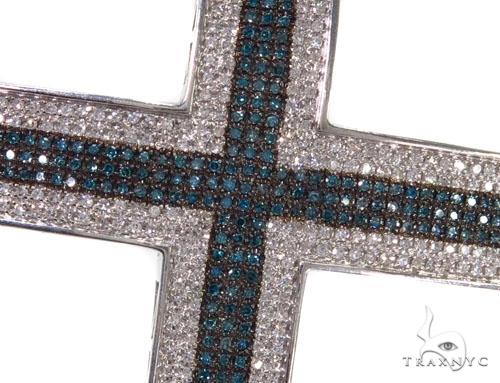 Blue and White Diamond Pave Cross 39503 Diamond