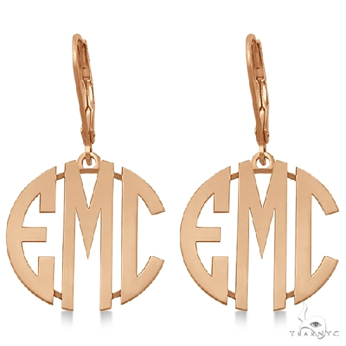 Bold 3 Initials Monogram Earrings in 14k Rose Gold Metal