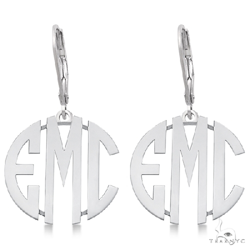Bold 3 Initials Monogram Earrings in 14k White Gold Metal