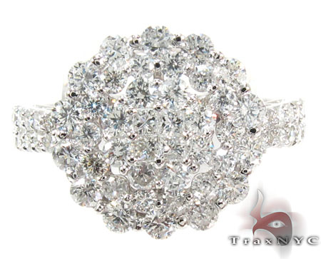 18K White Gold & Diamond Bouquet Ring Anniversary/Fashion