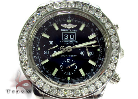 35 ct Black diamond Breitling Super Avenger Watch Blue Dial