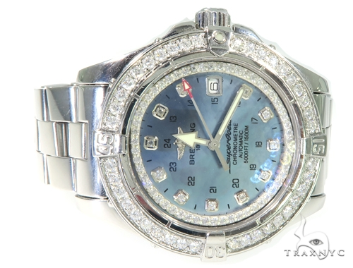 Breitling Superocean Diamond Watch Light Blue Breitling