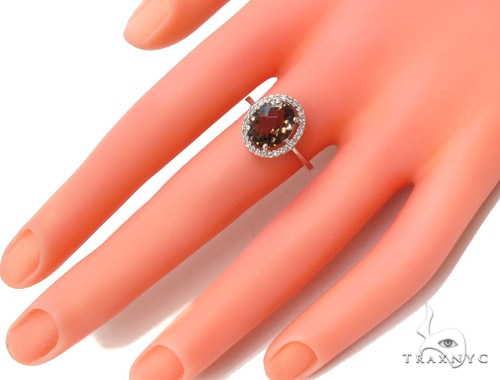 Brown Gemstone Diamond Silver Ring 36829 Anniversary/Fashion