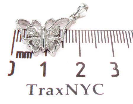 Butterfly Silver Diamond Pendant 27476 Metal