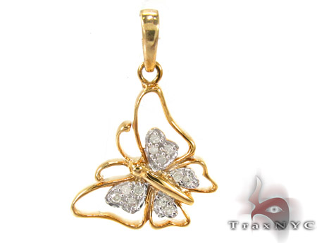 Butterfly Silver Diamond Pendant 27477 Metal