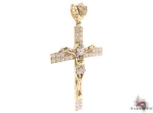 CZ 10K Gold Cross 34017 Gold