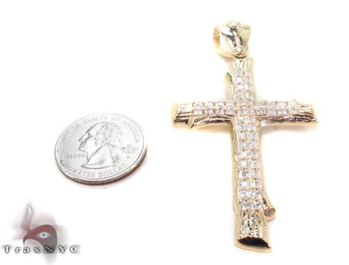 CZ 10K Gold Cross 34062 Gold