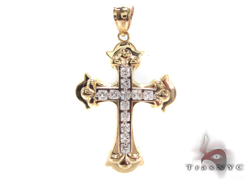 CZ 10K Gold Cross 34084 Gold