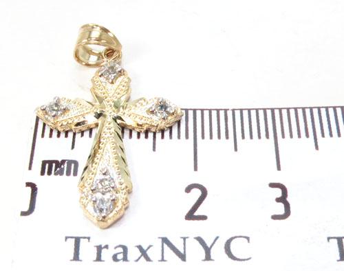 CZ 10K Gold Cross 34133 Gold