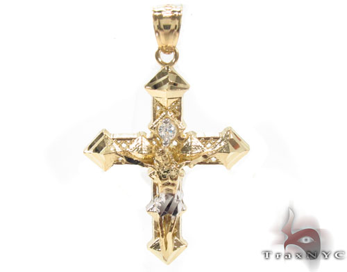 CZ 10K Gold Cross 34141 Gold