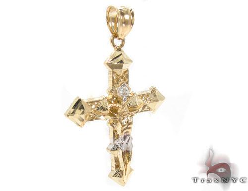 CZ 10K Gold Cross 34141 Gold