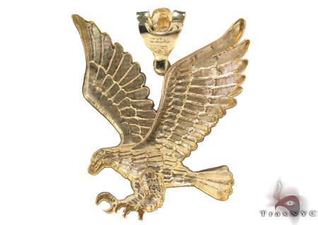 CZ 10K Gold Eagle Pendant 33648 Metal
