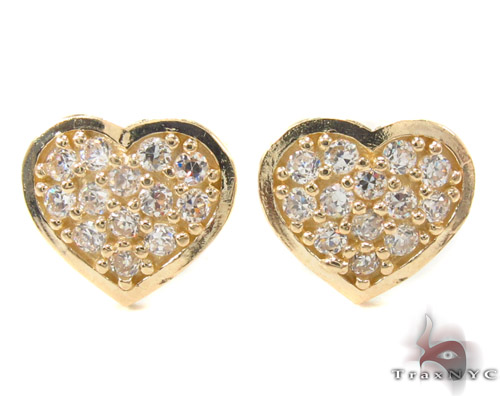 CZ 10K Gold Heart Earrings 34229 Metal