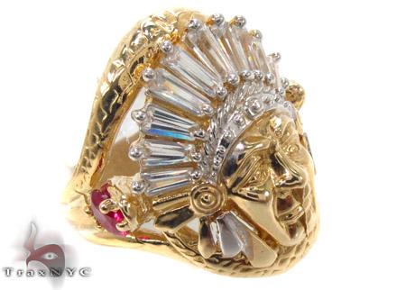 CZ 10K Gold Indian Head Ring 33273 Metal