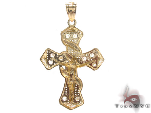 CZ 10K Gold Jesus Cross 34130 Gold