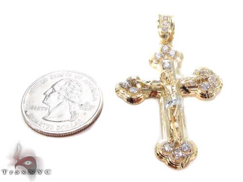 CZ 10K Gold Jesus Cross 34083 Gold