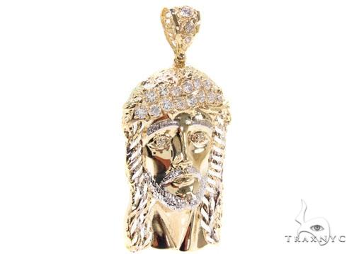 CZ 10K Gold Jesus Pendant 36765 Metal