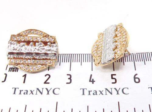CZ 10K Gold Last Supper Earrings 34167 Metal