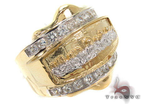 CZ 10K Gold Last Supper Ring 33256 Metal
