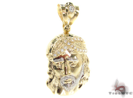 Jesus Head CZ 10K Gold Pendant Metal